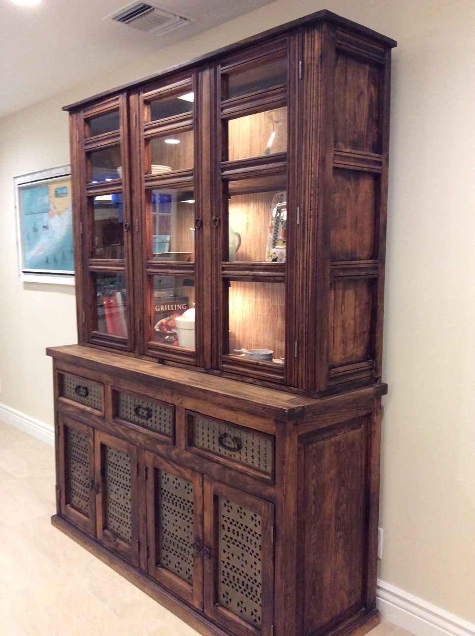 large kitchen hutch in dark solid wood