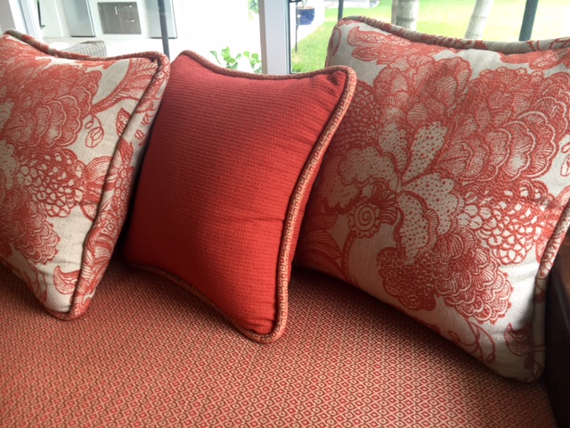 sofa cushions in red printed fabric