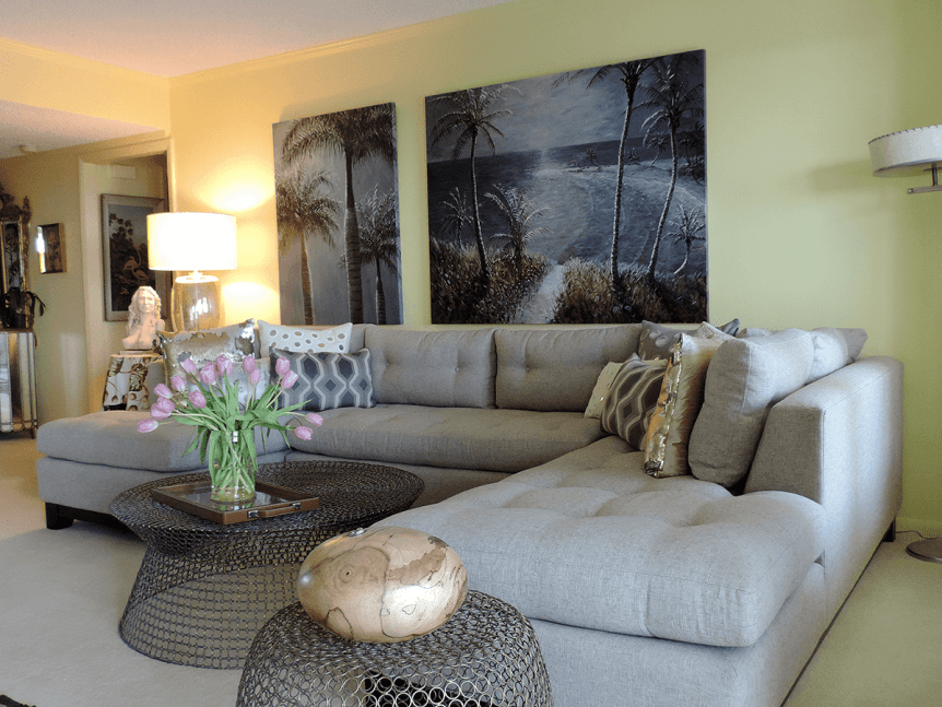 neutral colored sofa sectional with mesh coffee table and side table