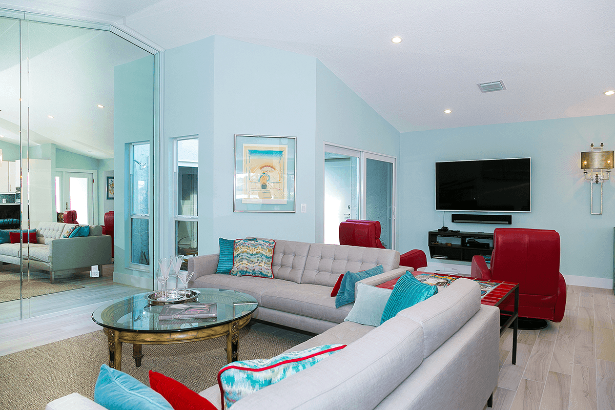 Contemporary and colorful living area