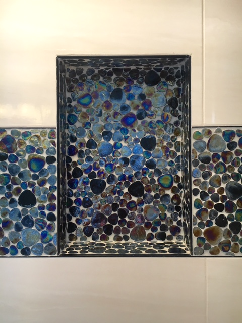 beautiful blue shades in a glass tile slab