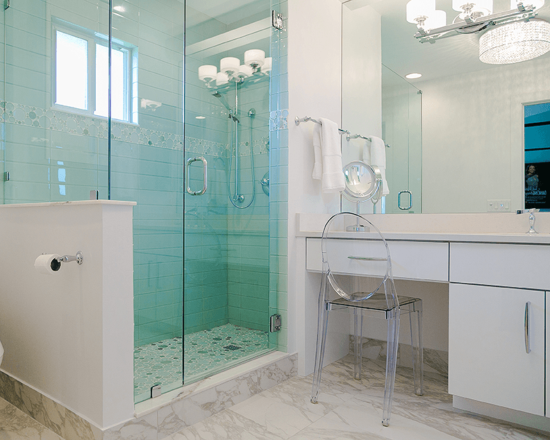 Frameless shower enclosure and new vanity | Flourish Delray Design
