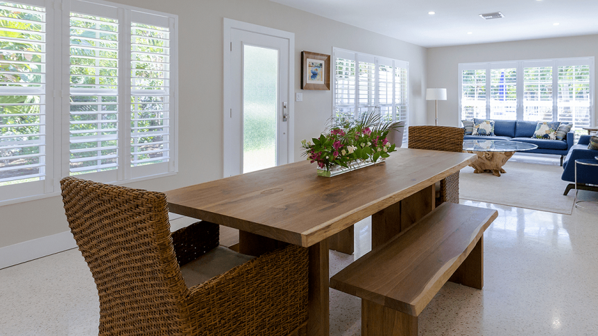 bench style dining table with natural materials