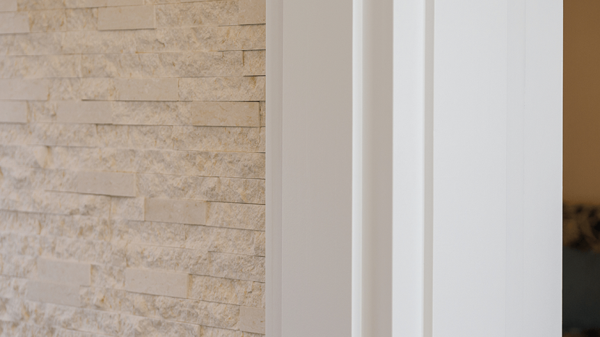 white trim and stone details in a home
