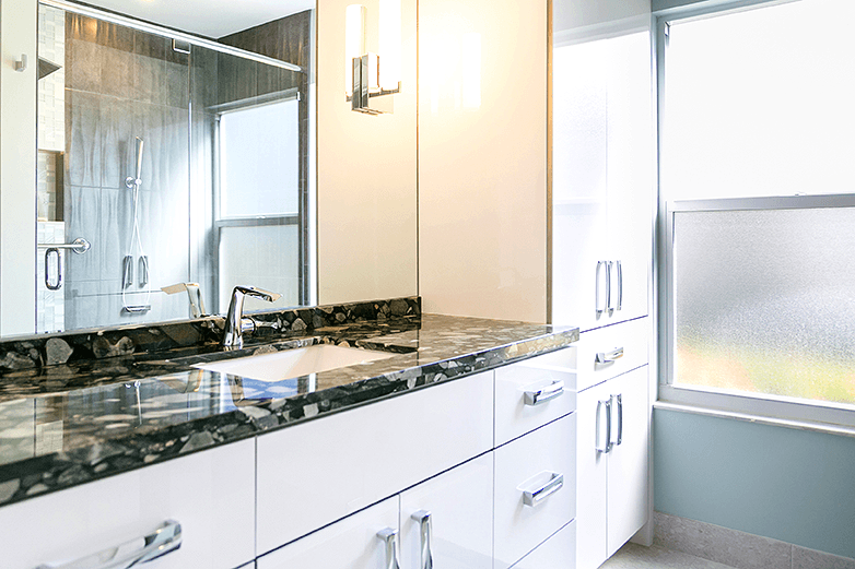 Contemporary Acrylic Cabinets With Granite Counter Top Flourish - Bathroom vanities delray beach fl