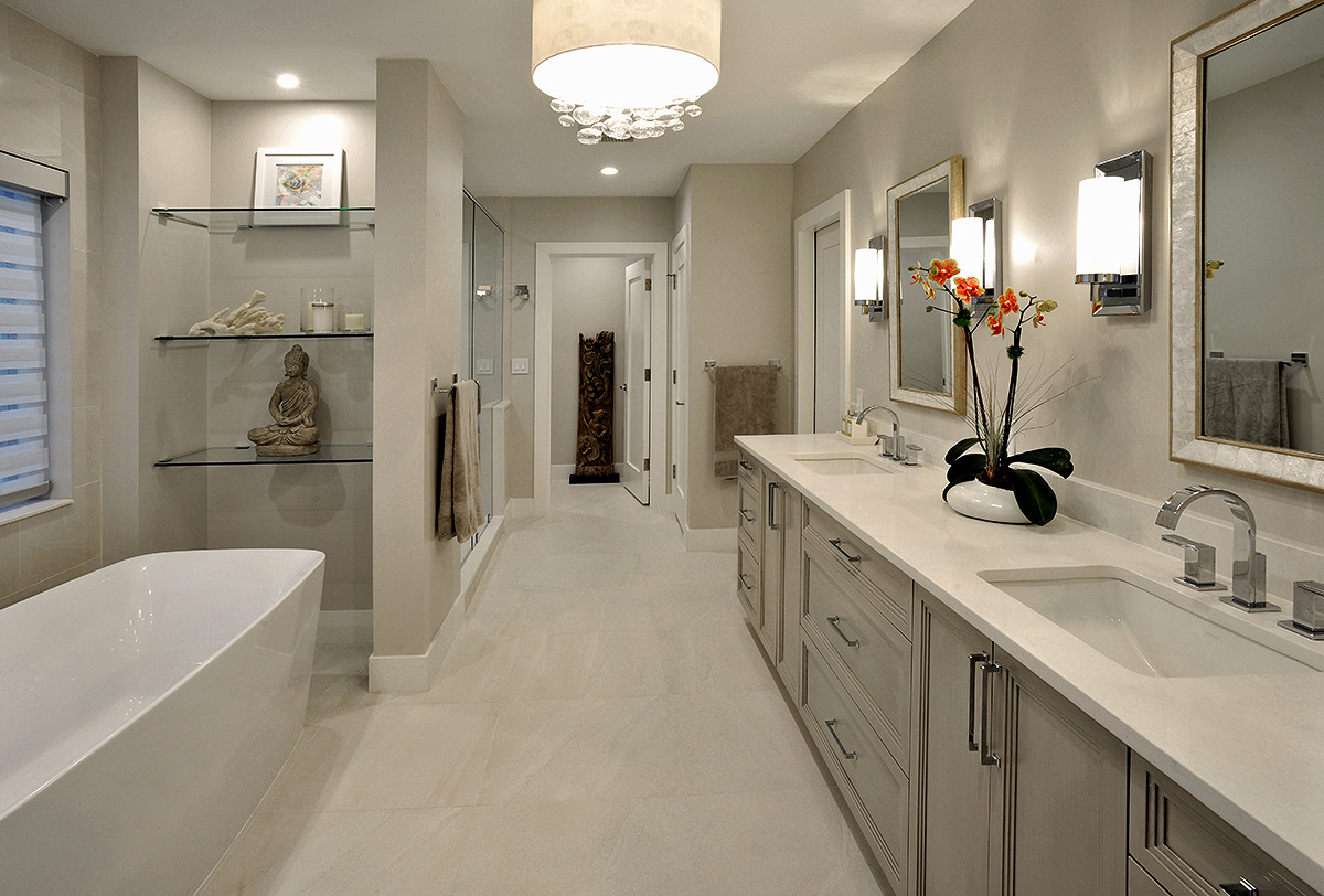 Large transitional style master bath
