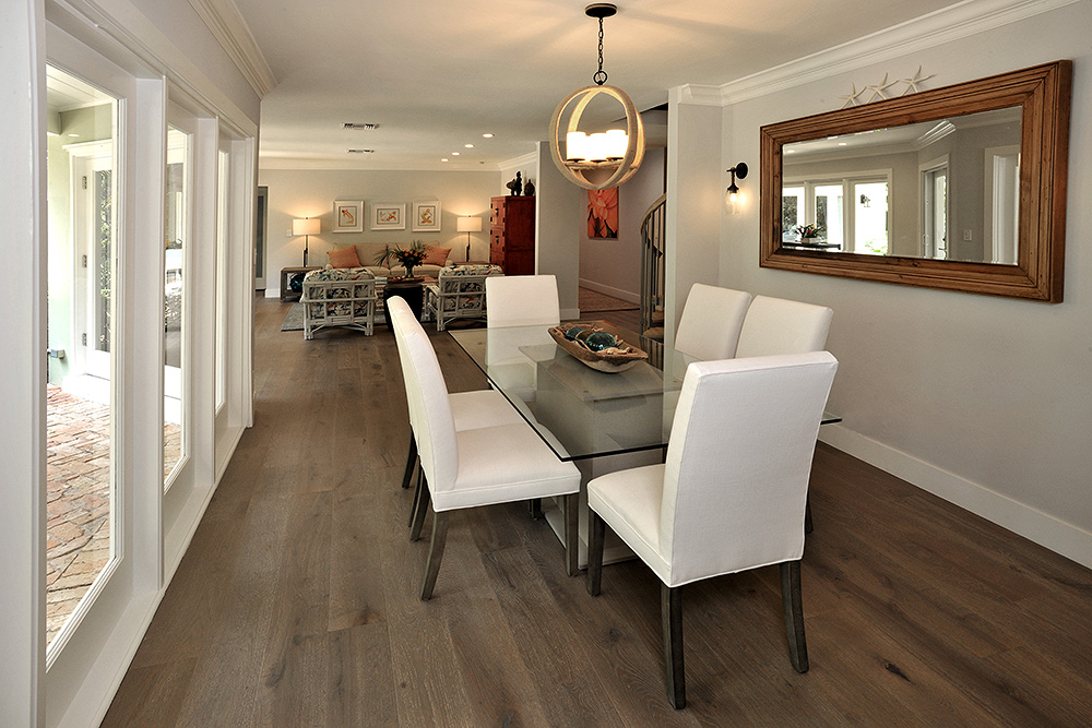 Pass through dining area with coastal charm