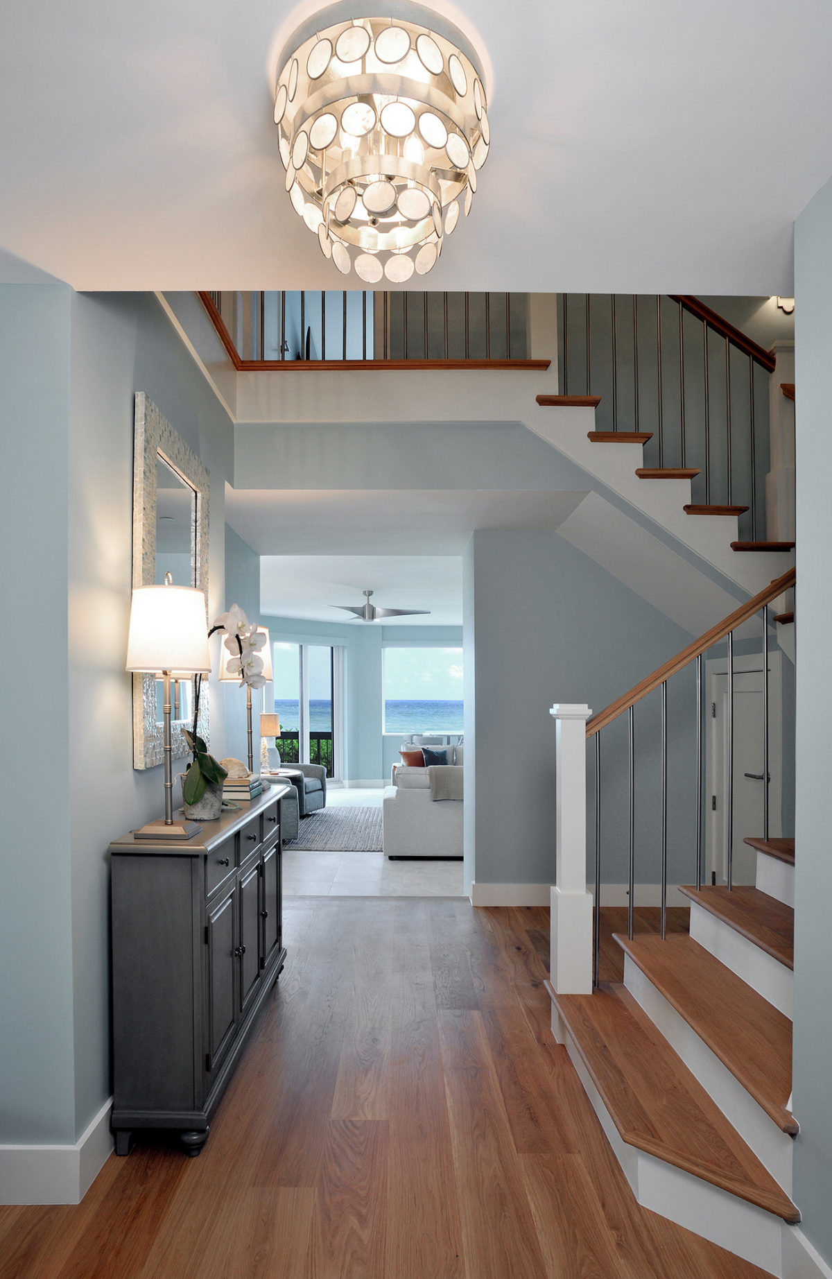 Entrance hallway of a beach house with wood floors