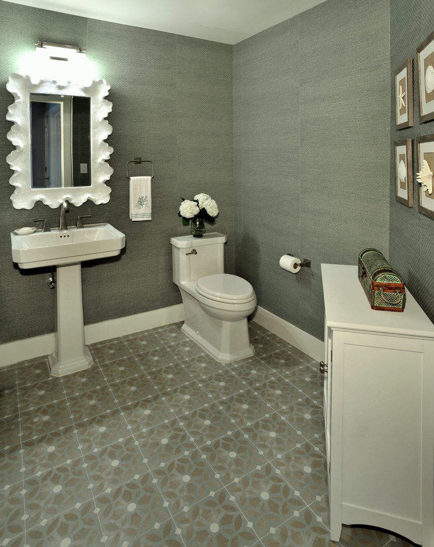 Powder room with sandy and beige color palette for a beach house