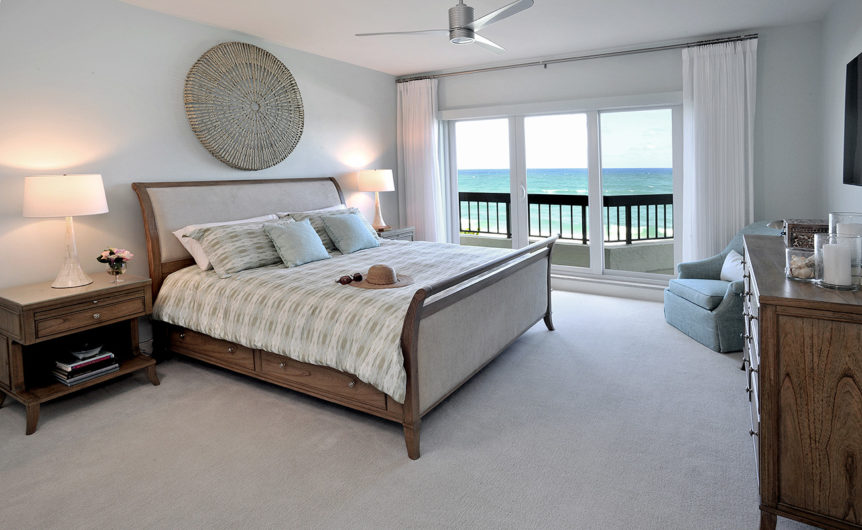 Spacious bedroom with a beach view