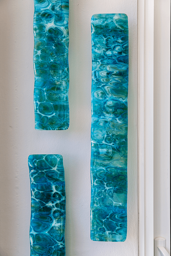 art glass in blue for wall decor