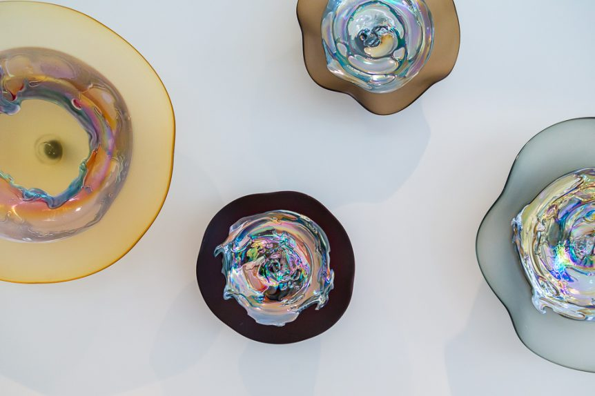 glass art in circular shapes and vibrant centers