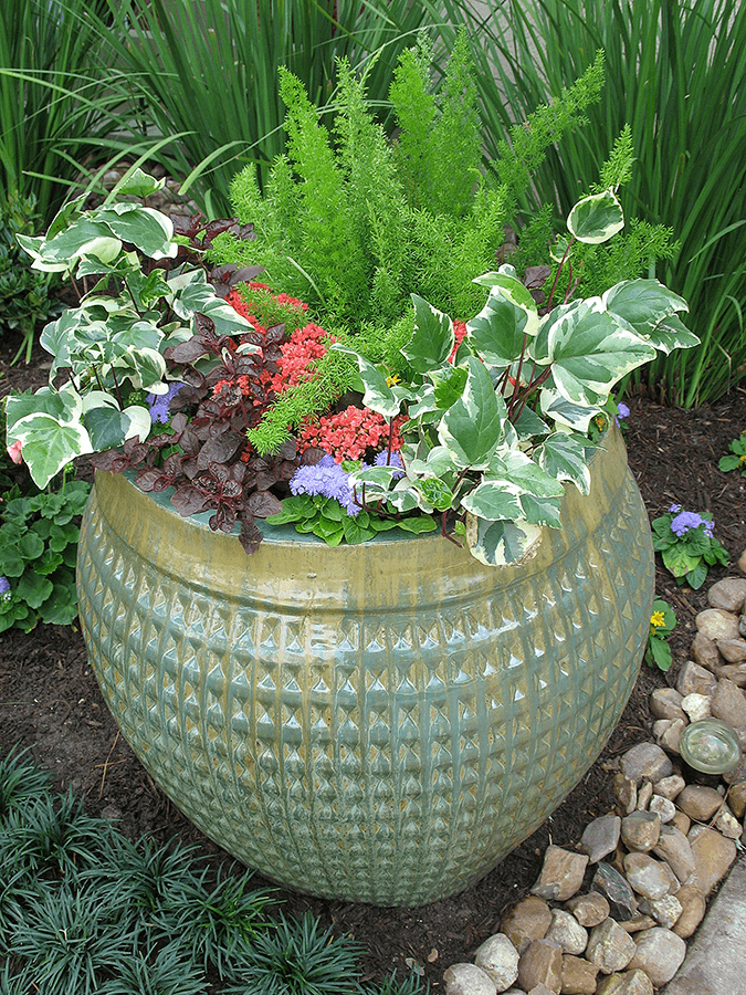 planter with leafy plants and red and purple flowers
