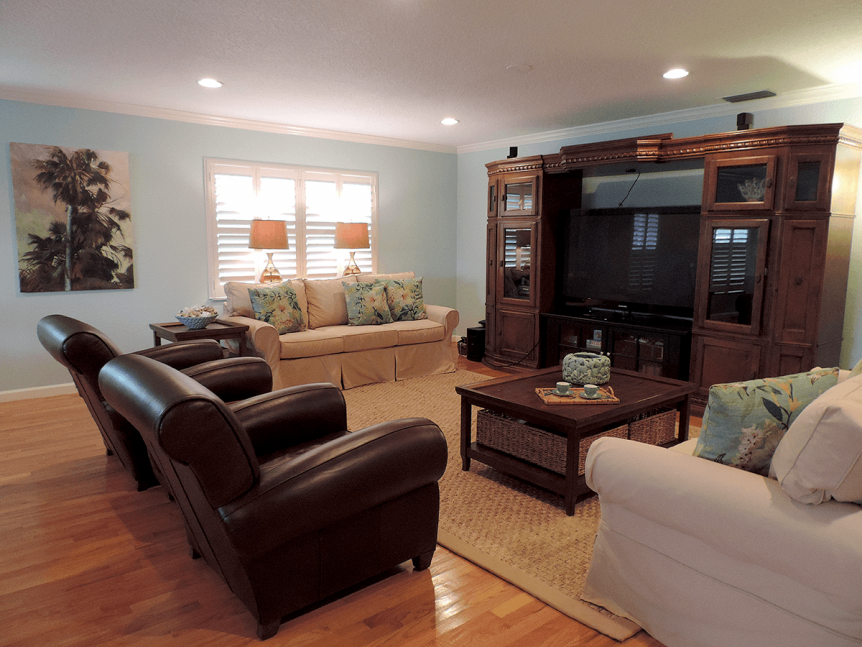 Traditional family room with media center