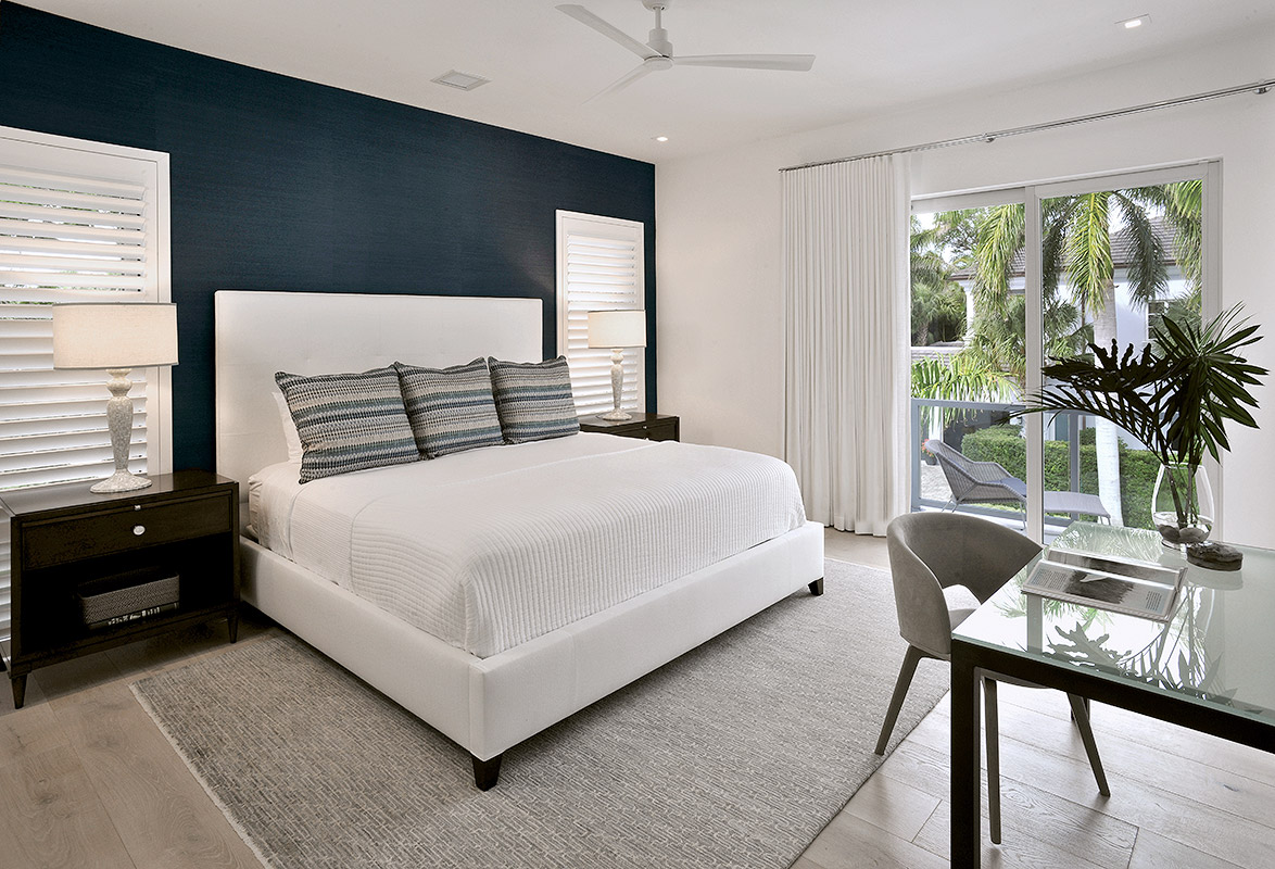 Nautical navy blue and white guest suite