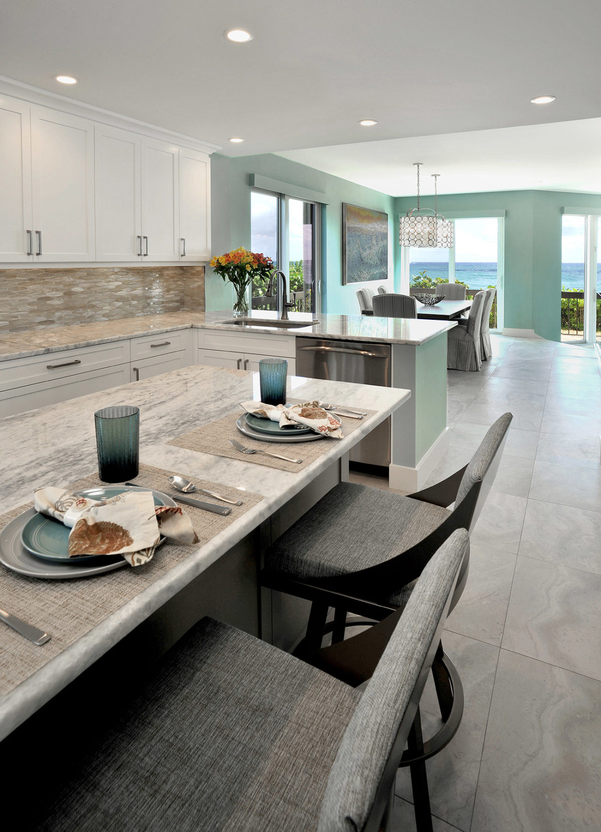 Kitchen in a beach house showing quartzite stone kitchen counter